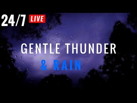 🔴 Gentle THUNDER and RAIN 24/7 | Non-Stop Distant Thunder & Rain Sounds at Night -Sleep,Insomnia
