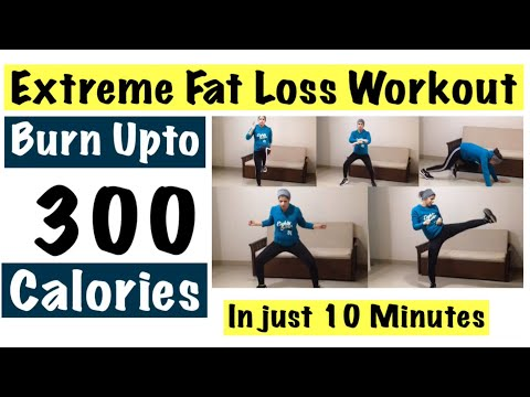 10 minutes Extreme Fat Loss Workout | Intense Home Cardio to Lose Weight | Burn upto 300 Calories