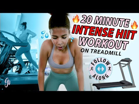 Easiest way to Burn 1000 calories! | 20 MINUTE INTENSE HIIT TREADMILL WORKOUT *follow along